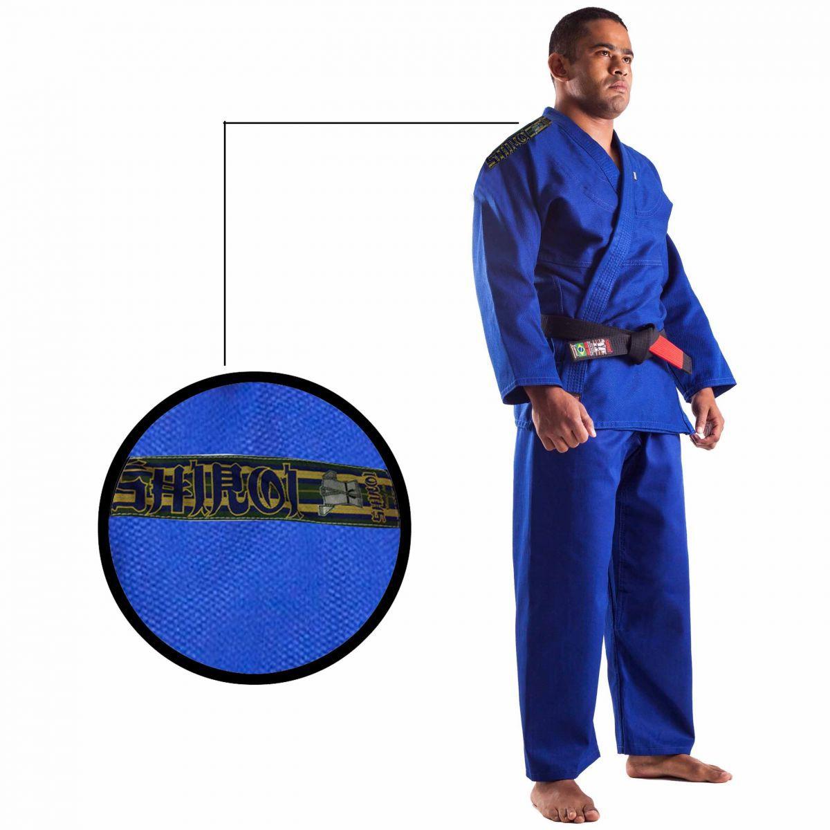 Kimono Jiu Jitsu - Trançadinho - Single  - Adulto - Shiroi - Azul .  - Loja do Competidor