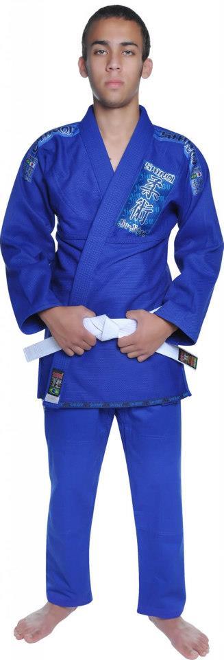 Kimono Jiu Jitsu - Trançadinho - Tradicional - Adulto - Shiroi - Azul
