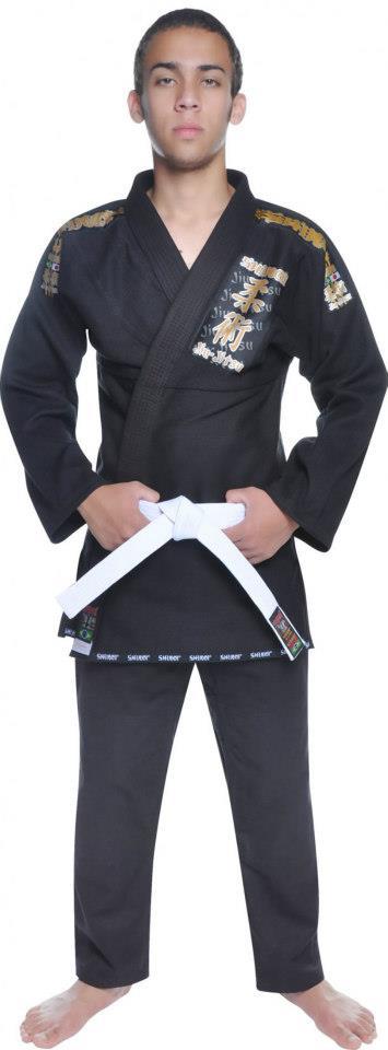 Kimono Jiu Jitsu - Trançadinho - Tradicional - Adulto - Shiroi - Preto