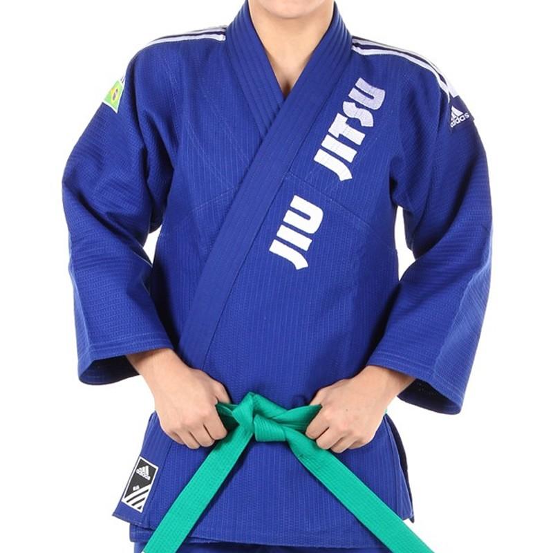 Kimono Jiu Jitsu - Trancado - Adidas - Azul - Bordado .