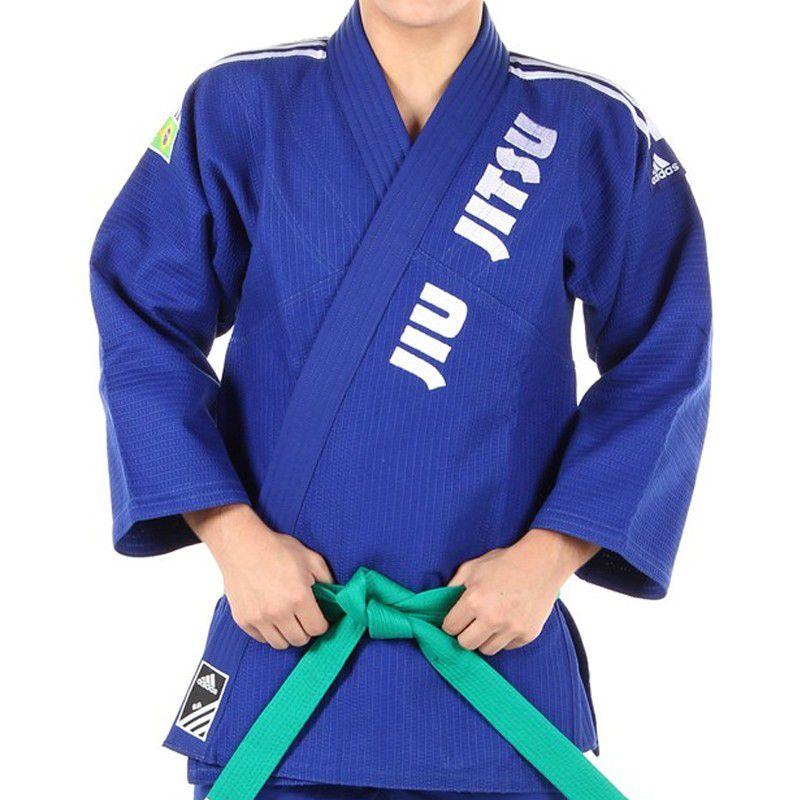 Kimono Jiu Jitsu Trancado J-500 - Adidas - Azul - Bordado