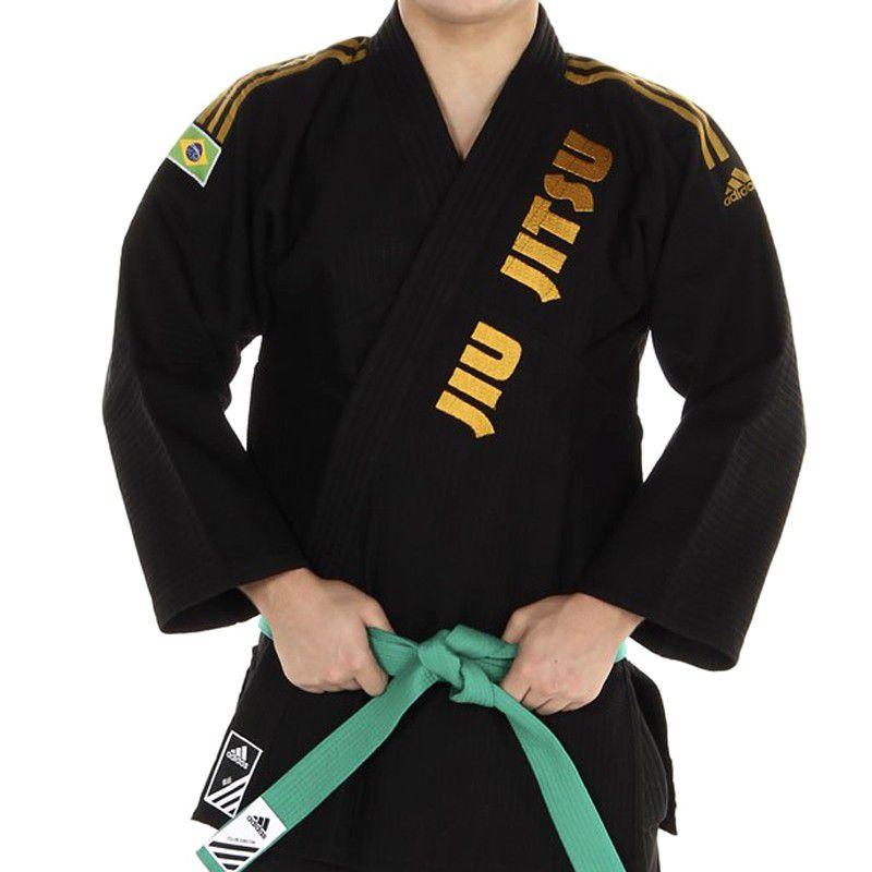 Kimono Jiu Jitsu - Trancado - Adidas - Preto - Bordado  - Loja do Competidor