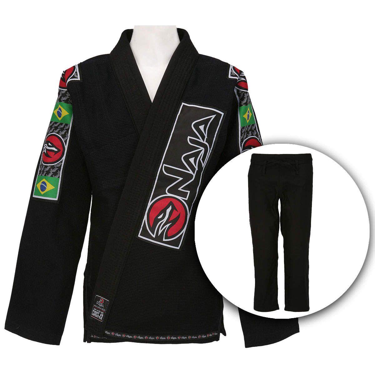 Kimono Jiu Jitsu - Trancado - Naja - Preto  - Loja do Competidor