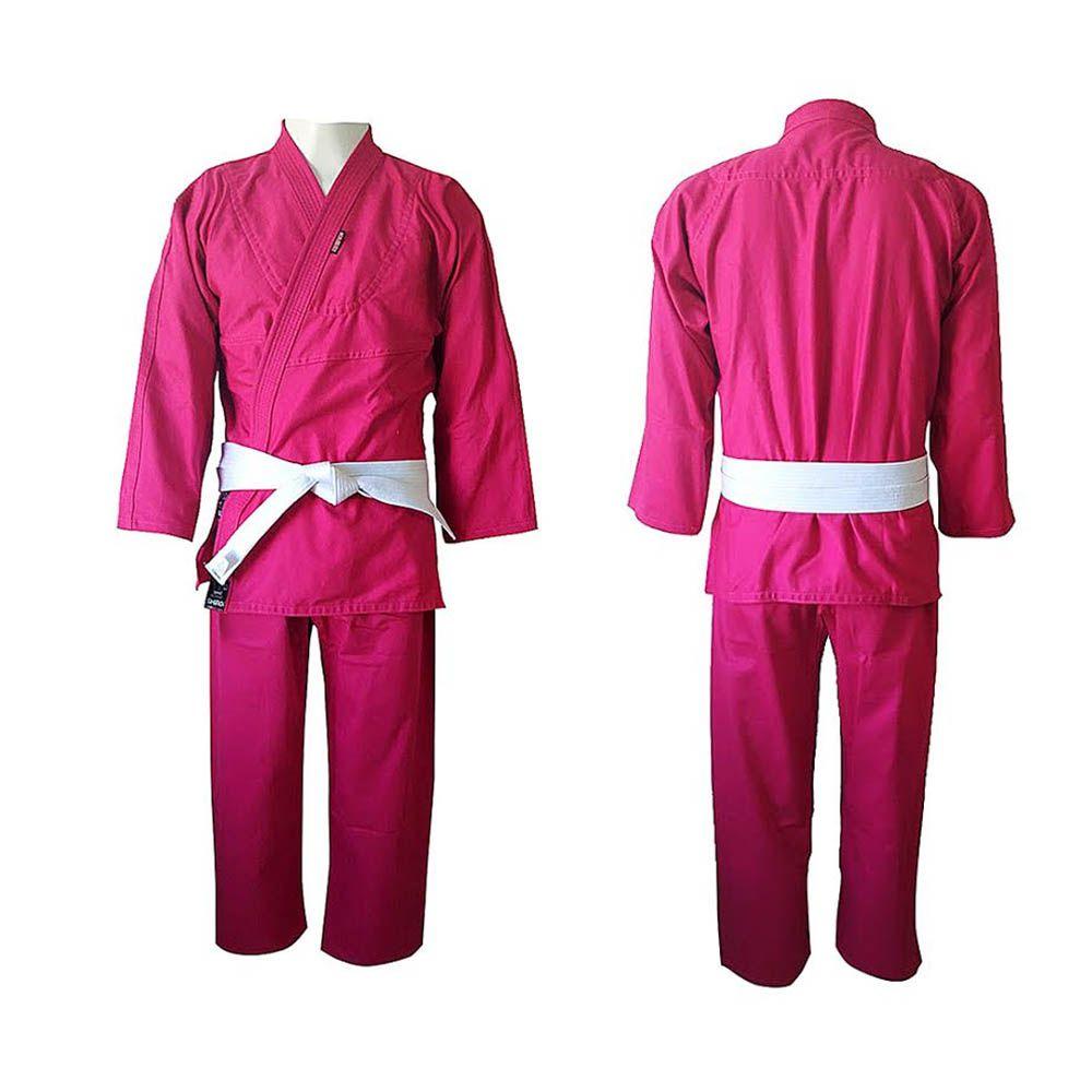 Kimono Judo Gi / Jiu-Jitsu - Reforçado- Infantil - Rosa- Shiroi -
