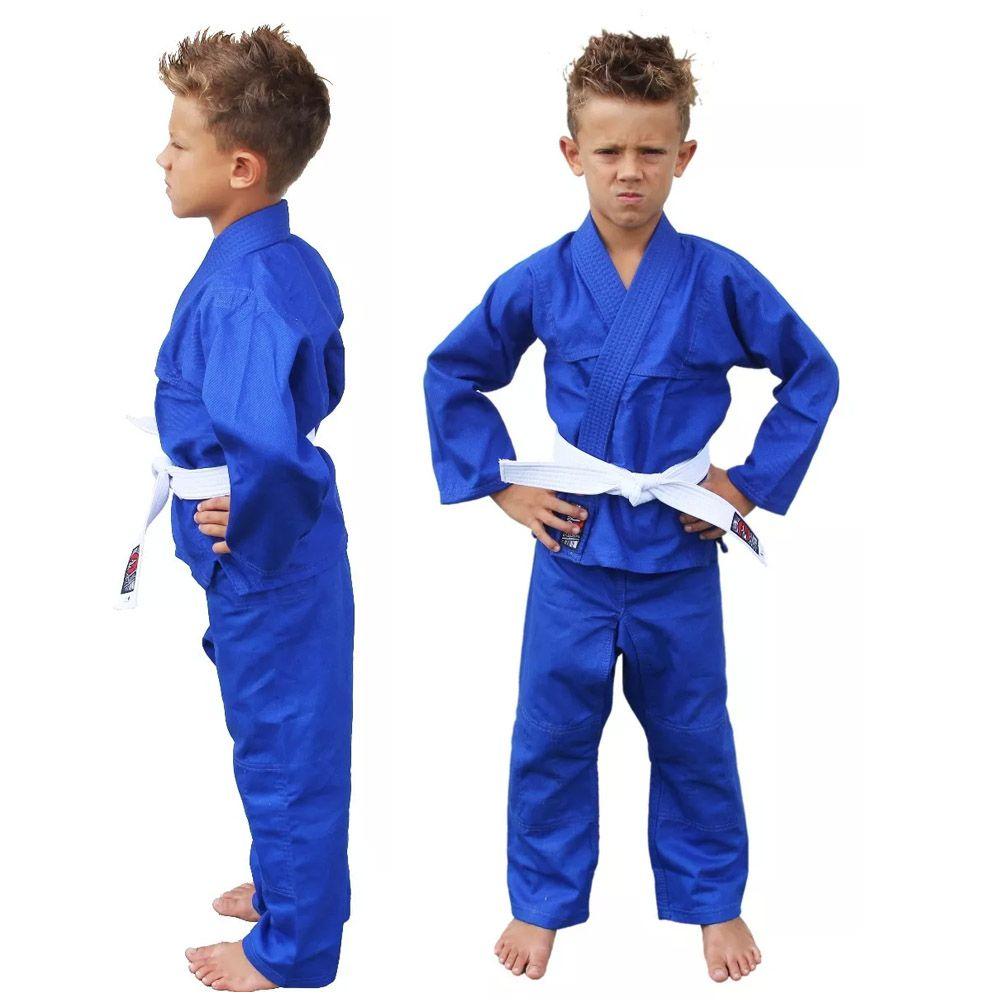 Kimono Judo Gi / Jiu-Jitsu - Sarja Reforçado- Liso - Infantil - Azul - Naja -