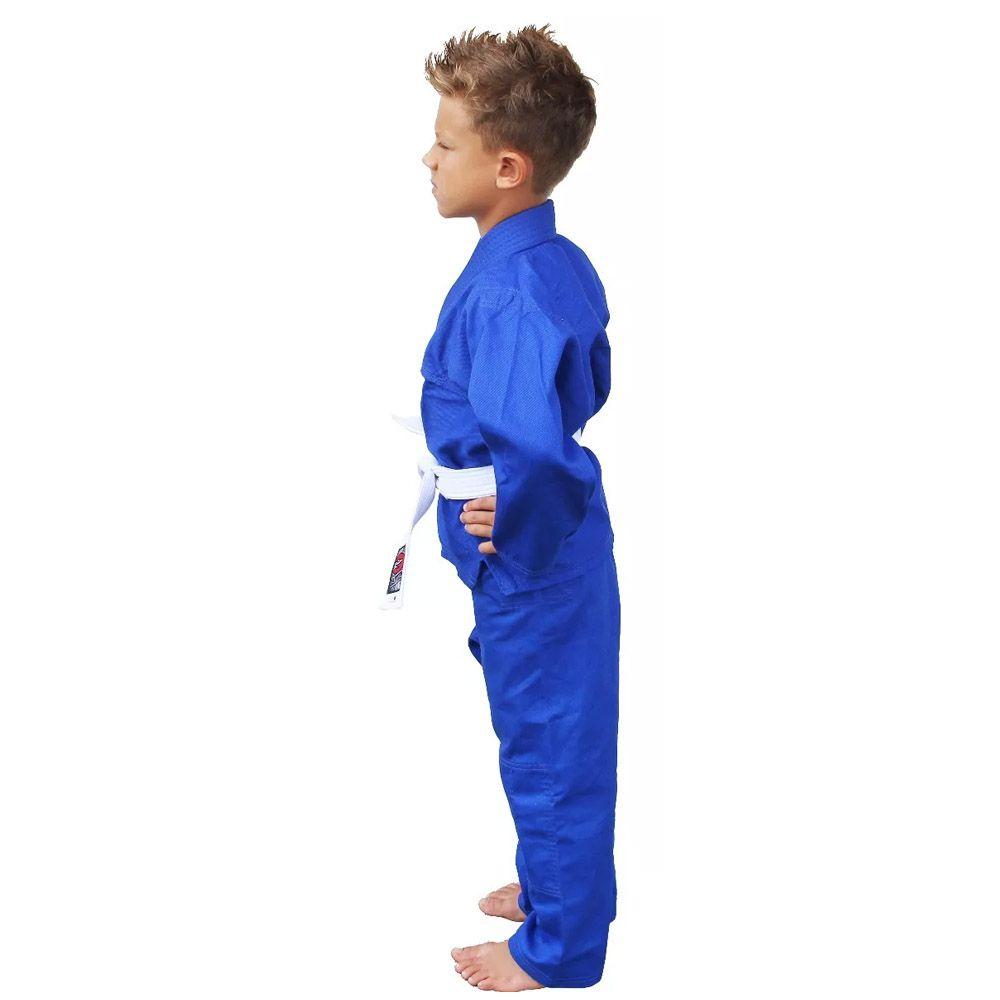Kimono Judo Gi / Jiu-Jitsu - Sarja Reforçado- Liso - Infantil - Azul - Naja -  - Loja do Competidor