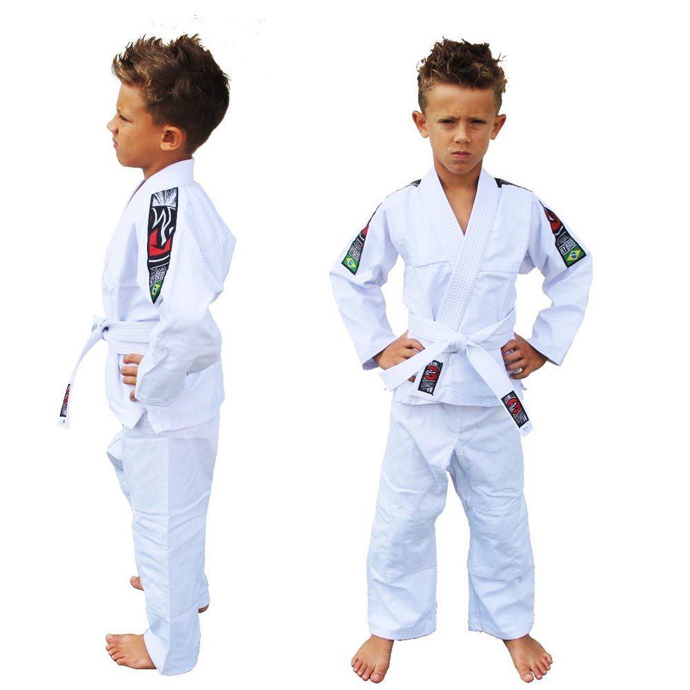 Kimono Judo Gi / Jiu-Jitsu - Sarja Reforçado- Liso - Infantil - Branco- Naja