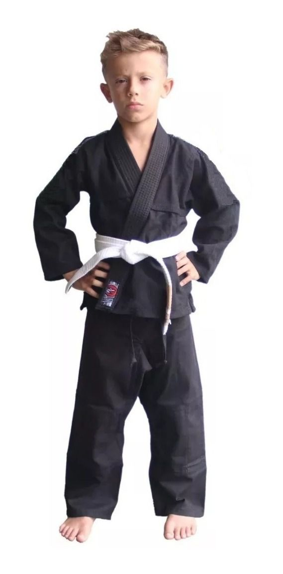 Kimono Judo Gi Jiu-Jitsu Ninjutsu - Sarja Reforçado - Liso - Infantil - Preto - Naja