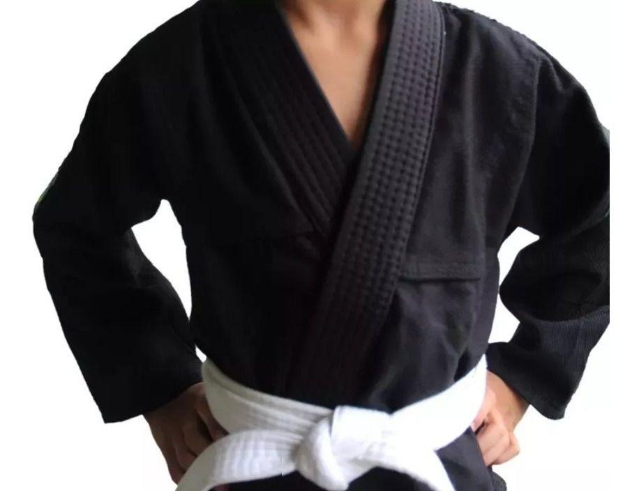 Kimono Judo Gi Jiu-Jitsu Ninjutsu - Sarja Reforçado - Liso - Infantil - Preto - Naja  - Loja do Competidor
