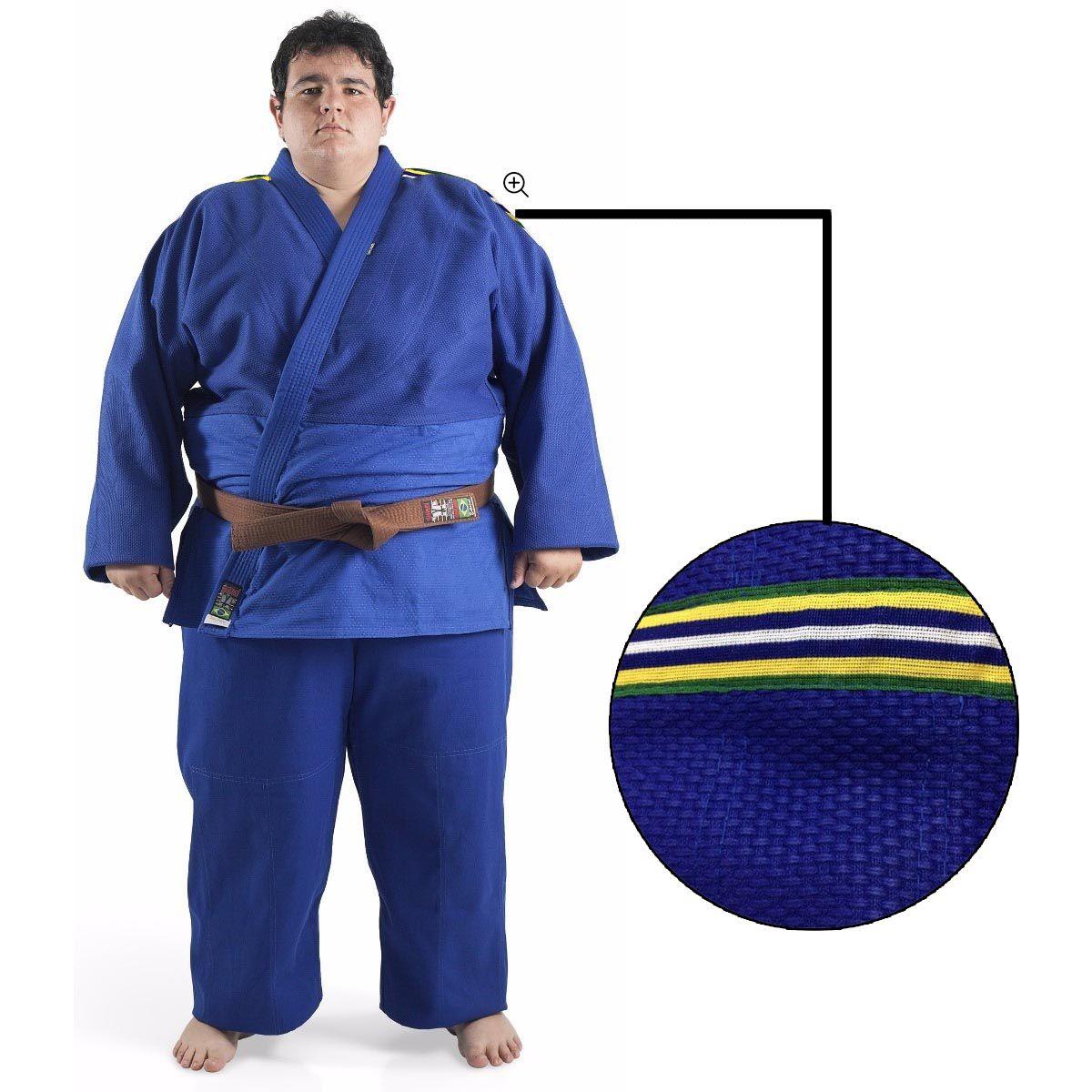 Kimono Judo - Trancado - Master - Brazilian Colors - Shiroi - Azul -  - Loja do Competidor
