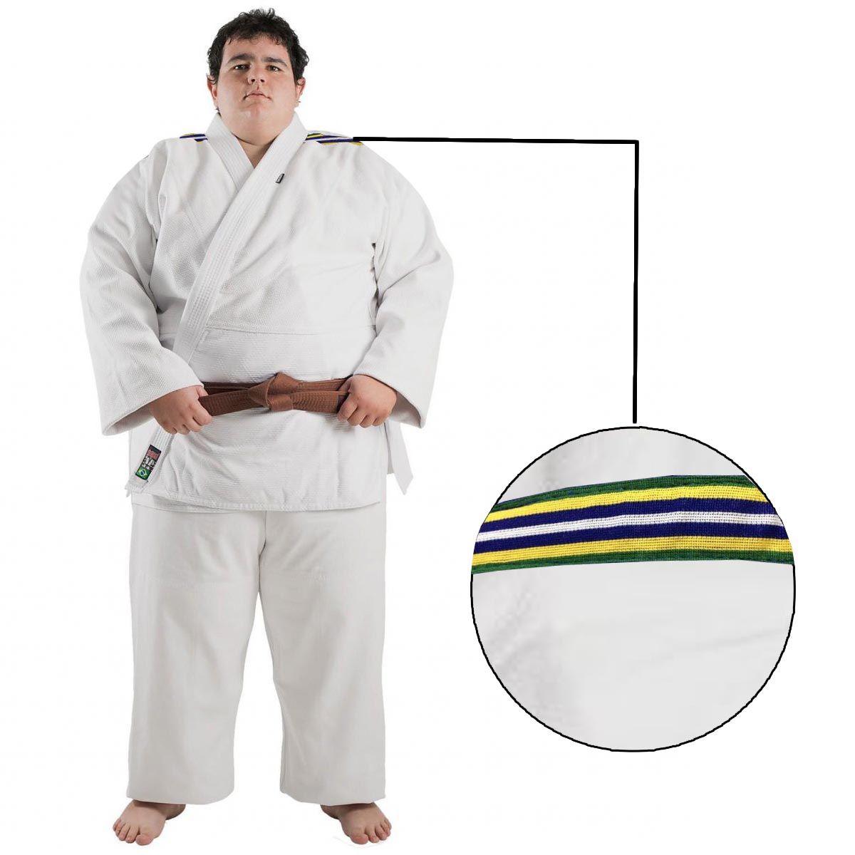 Kimono Judo - Trancado - Standart - Brazilian Colors - Shiroi - Branco -  - Loja do Competidor