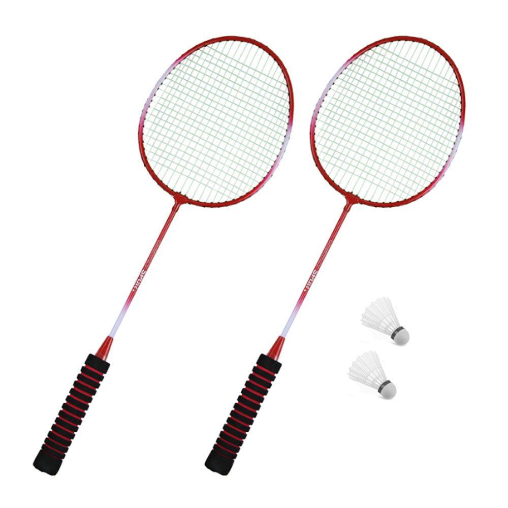 Kit 2 Raquetes Badminton + 2 Petecas - EMB - Convoy  - Loja do Competidor