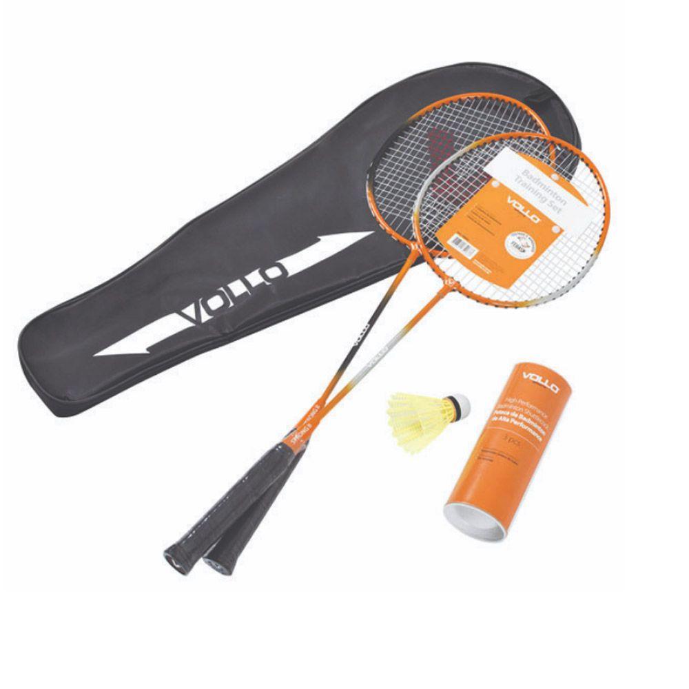 Kit 2 Raquetes Badminton + 3 Petecas -Profissional - VB002 - Vollo