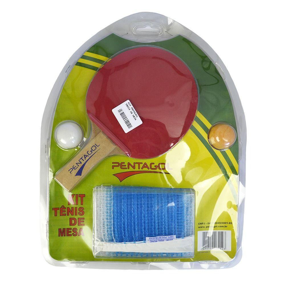 Kit 2 Raquetes Tenis de Mesa Ping Pong + 2 Bolas + Rede + Suporte - Pentagol