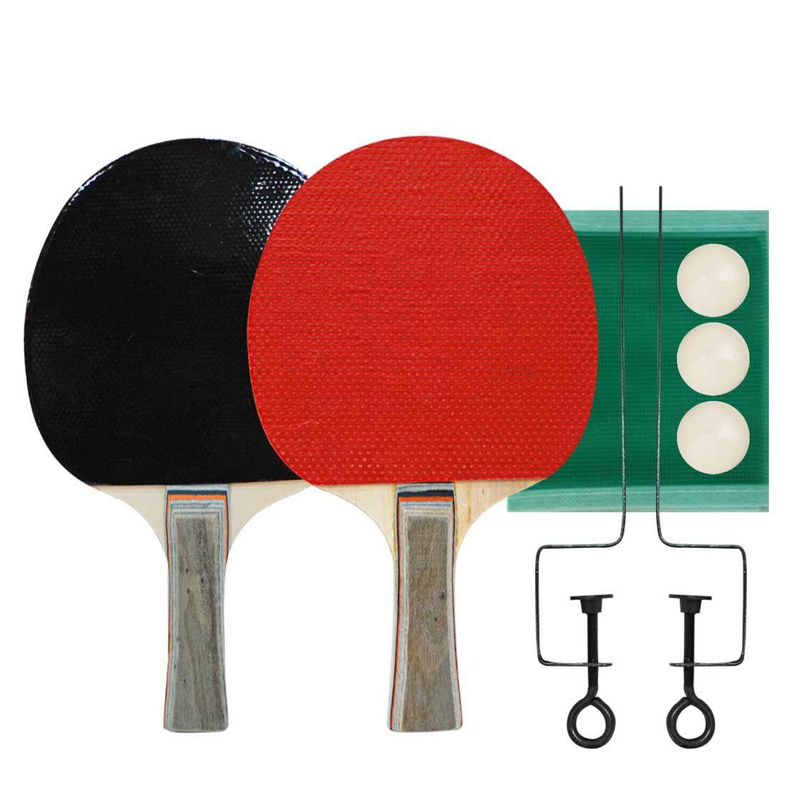 Kit 2 Raquetes Tenis de Mesa Ping Pong + 3 Bolas + Rede + Suporte - Convoy - YS38030