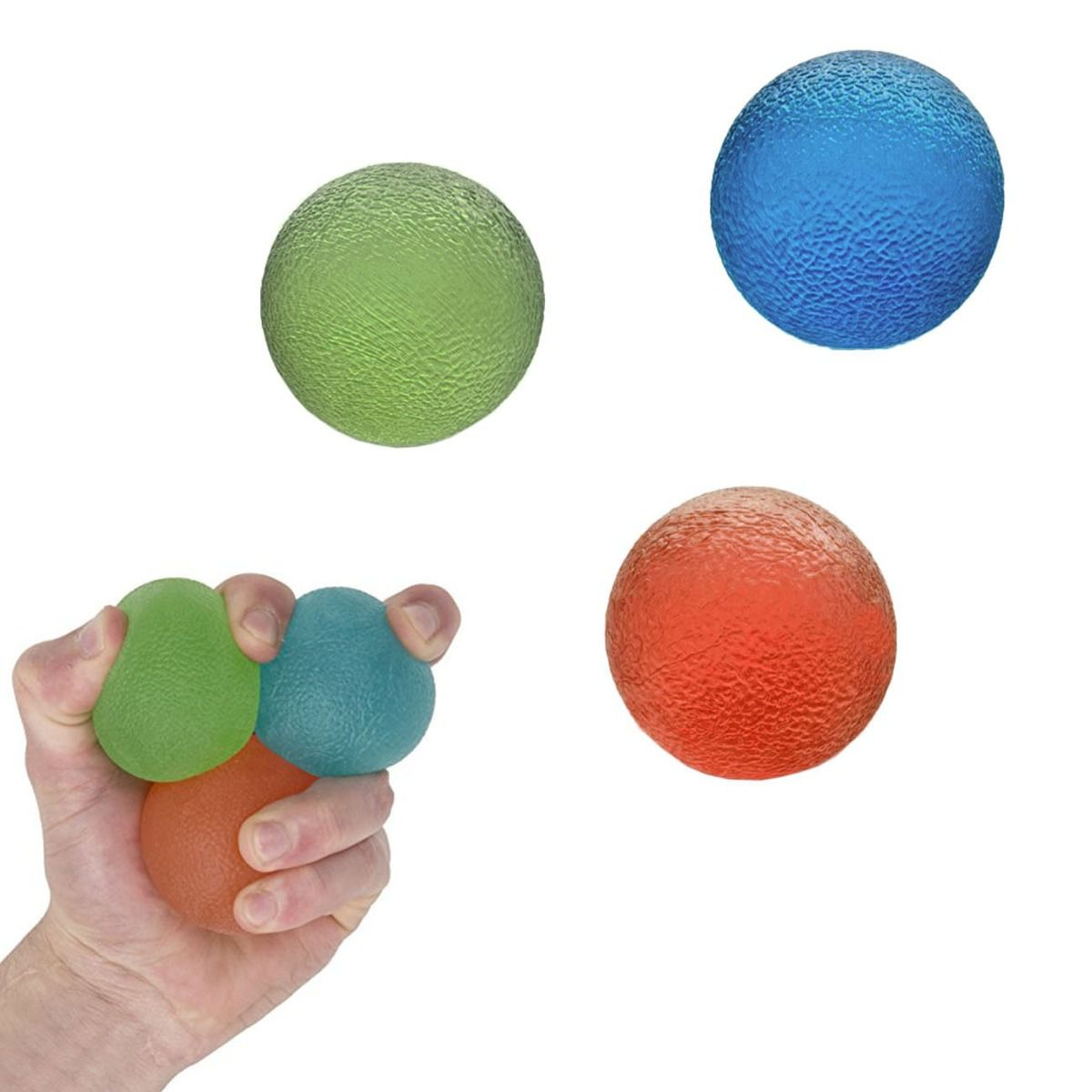 Kit 3 Bolas De Aperto Grip Ball Tensão Leve, Media E Forte - Liveup