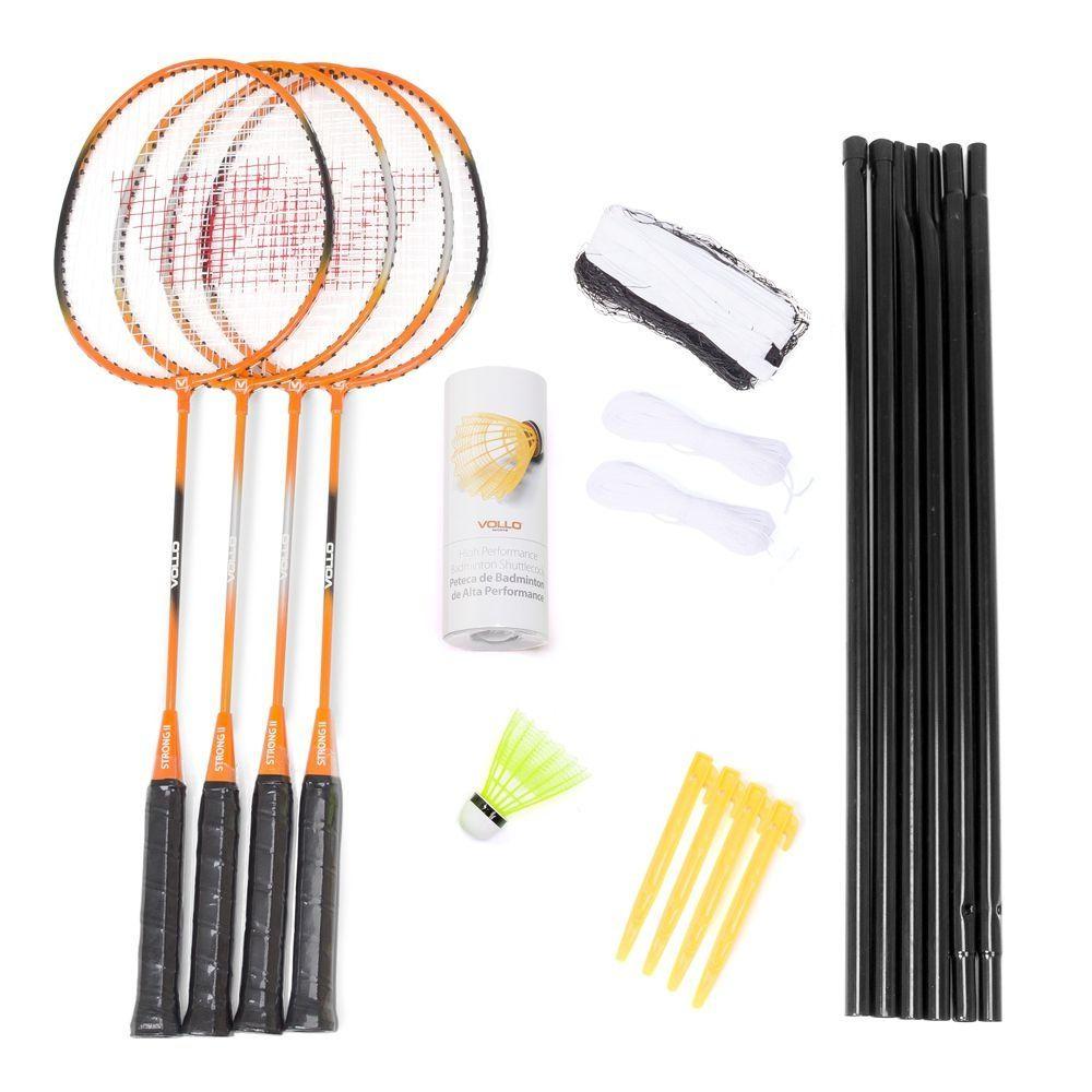 Kit 4 Raquetes Badminton + 3 Petecas + Rede e Suporte  -Profissional - S2R004- Vollo