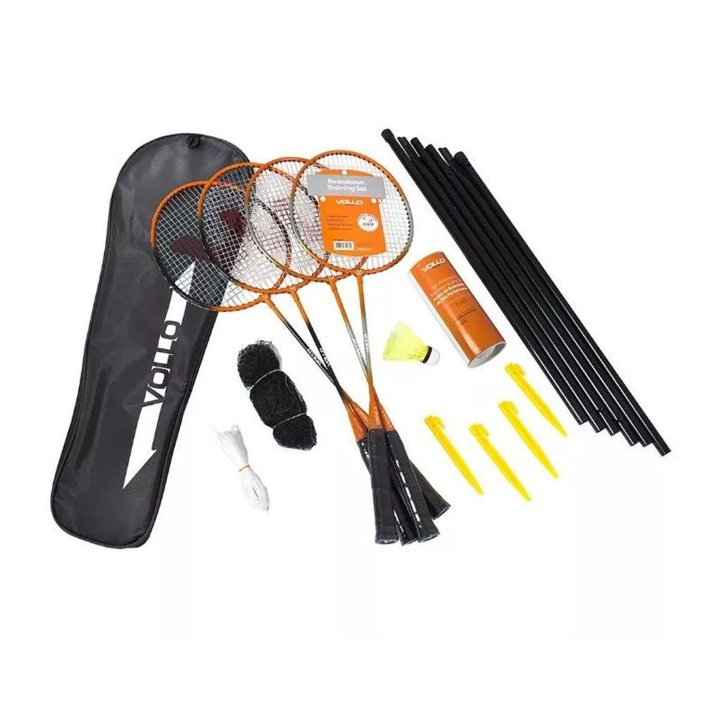 Kit 4 Raquetes Badminton + 3 Petecas + Rede e Suporte  -Profissional - S2R004- Vollo  - Loja do Competidor