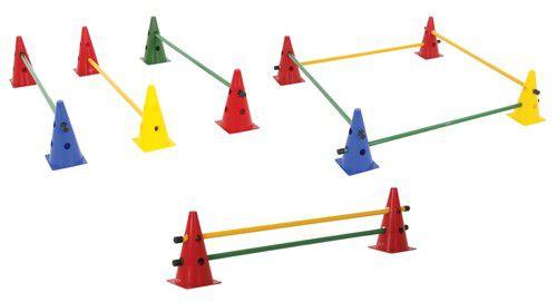 Kit Agilidade com Barreira - 8 Cones + 4 Barras - TRK  - Loja do Competidor