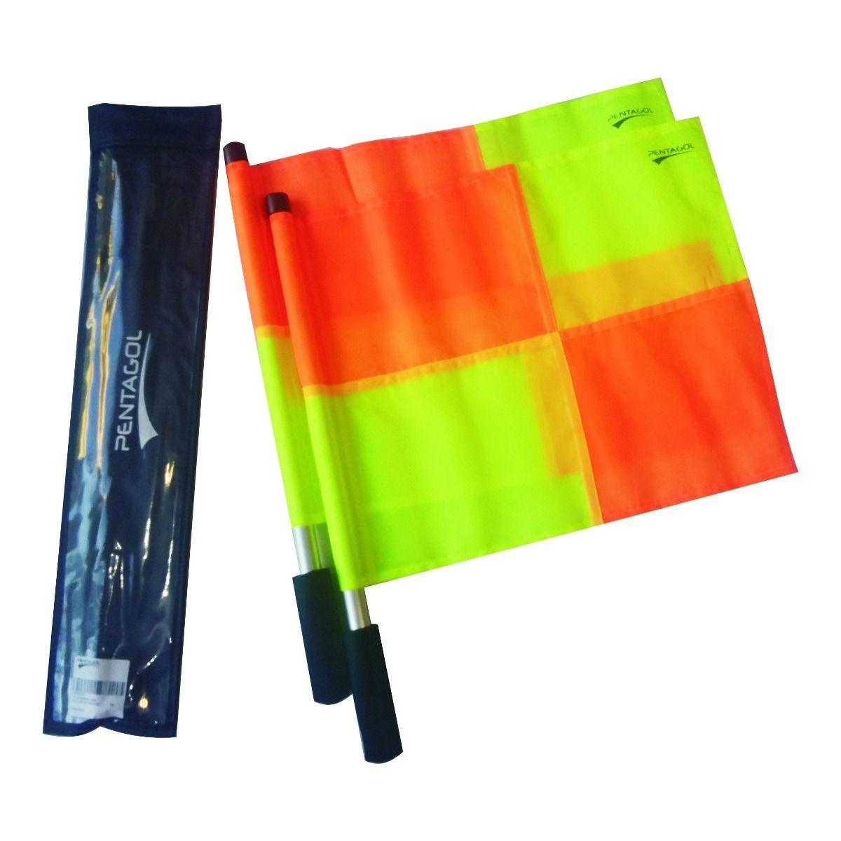 Kit Bandeira de Auxiliar Árbitro / Bandeirinha - 4 Gomos - Par - Pentagol