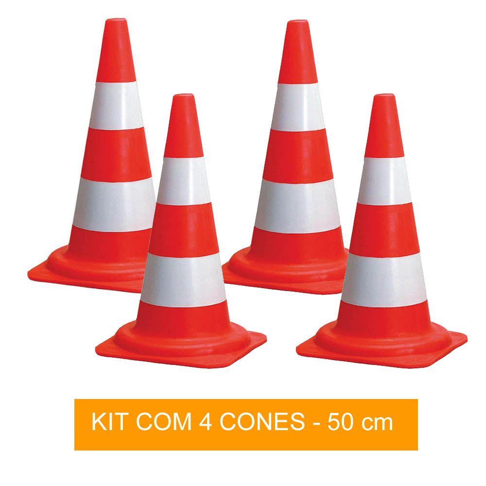 Kit com 4 Cones de Sinalização para Circuito - 50 cm - Pentagol