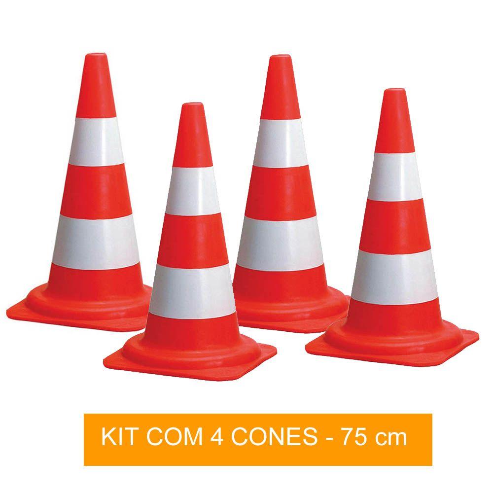 Kit com 4 Cones de Sinalização para Circuito - 75 cm - Pentagol
