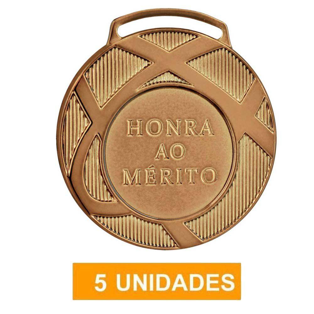 Kit com 5 Medalhas de Bronze com Fita- 60001- Futebol / Volei- 60mm- Vitória