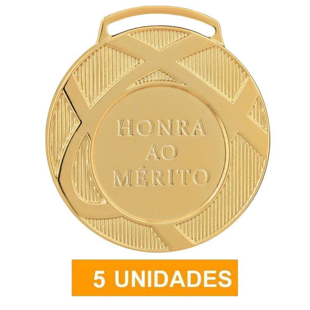 Kit com 5 Medalhas de Ouro com Fita- 60001- Futebol / Volei- 60mm- Vitória