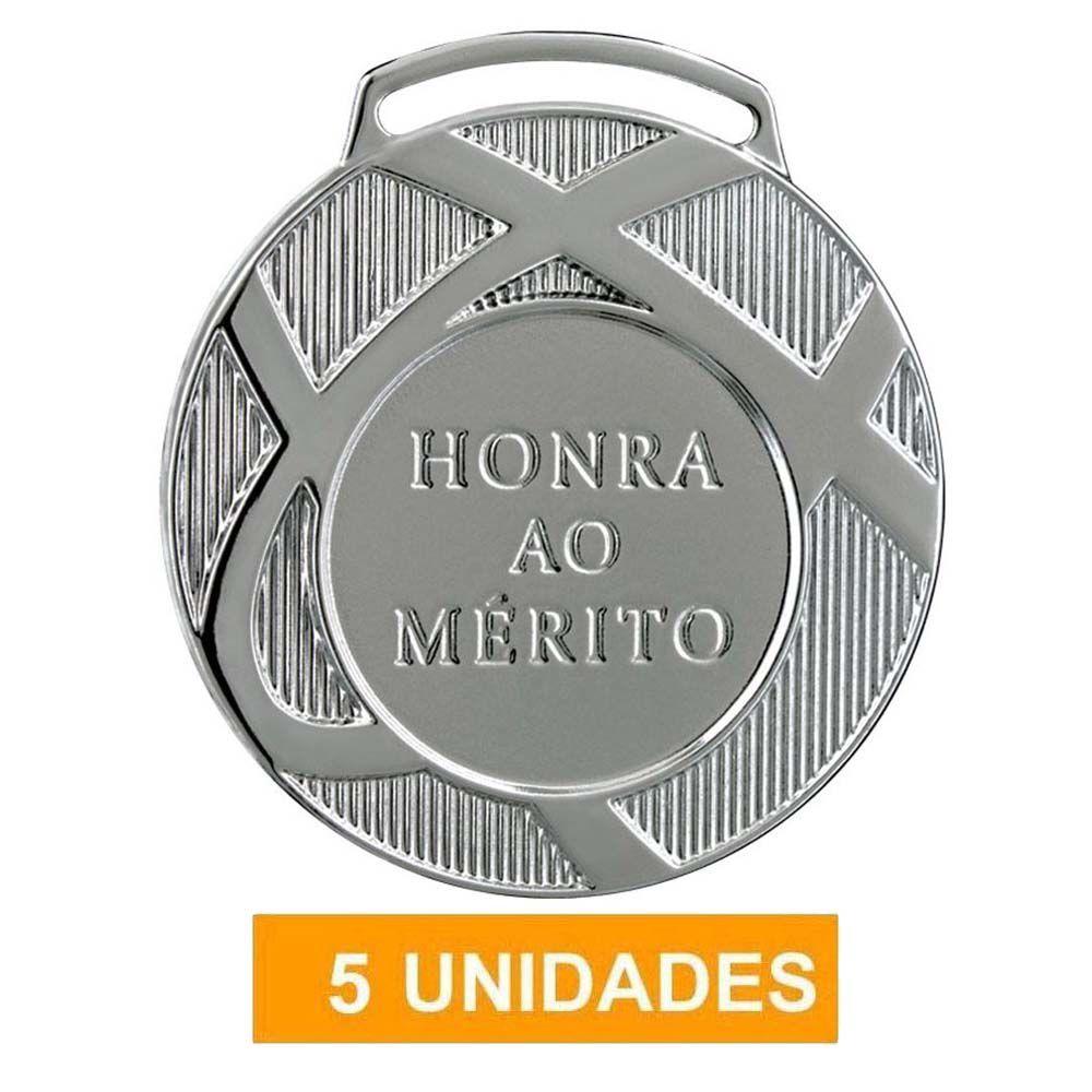 Kit com 5 Medalhas de Prata com Fita- 60001- Futebol / Volei- 60mm- Vitória  - Loja do Competidor