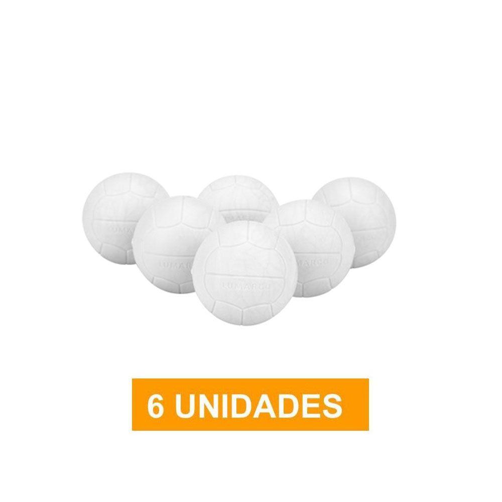 Kit com 6 Bolas - Pebolim Totó - Branca - Pentagol