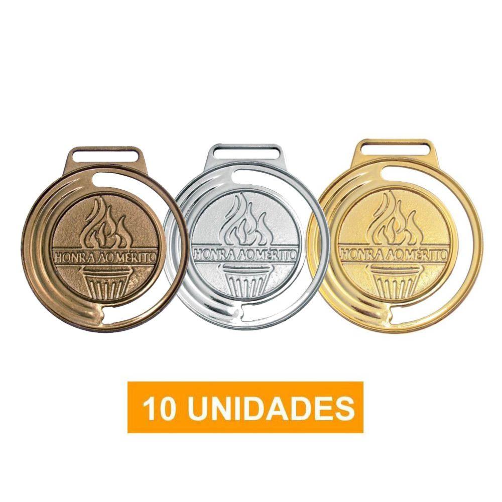 Kit de 10 Medalhas com Fita Cetim - mod 40000 - Futebol / Volei / Artes Marciais - 35mm- Vitória