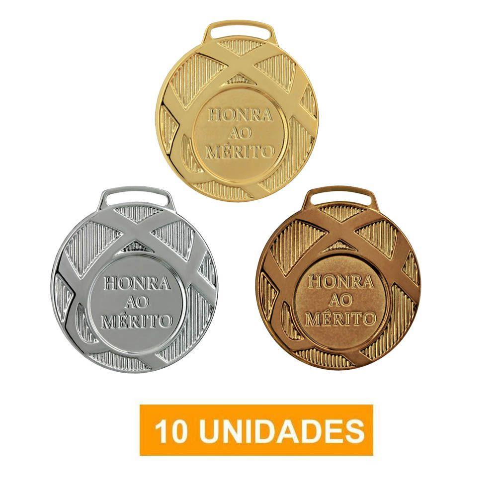 Kit de 10 Medalhas com Fita Cetim - 45001- Futebol / Volei / Artes Marciais - 45mm- Vitória