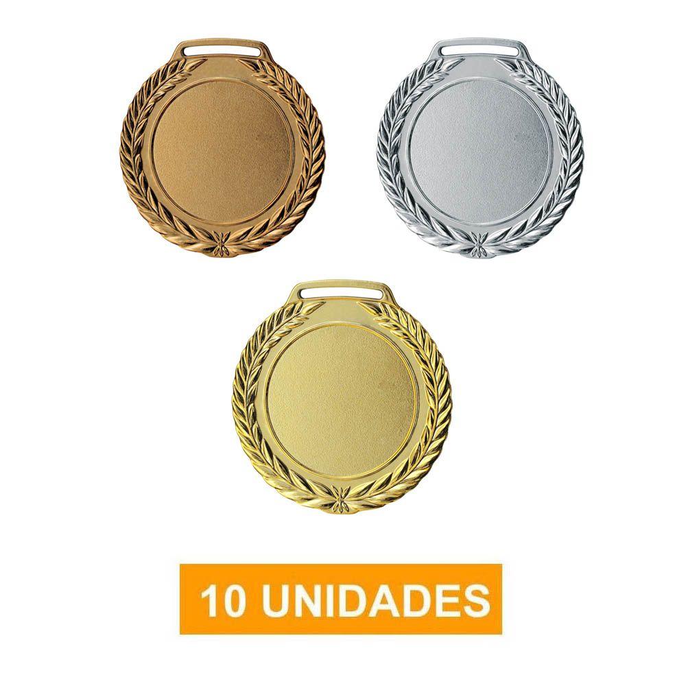 Kit de 10 Medalhas com Fita Cetim - mod75002 - Futebol / Volei / Artes Marciais - 75mm- Vitória