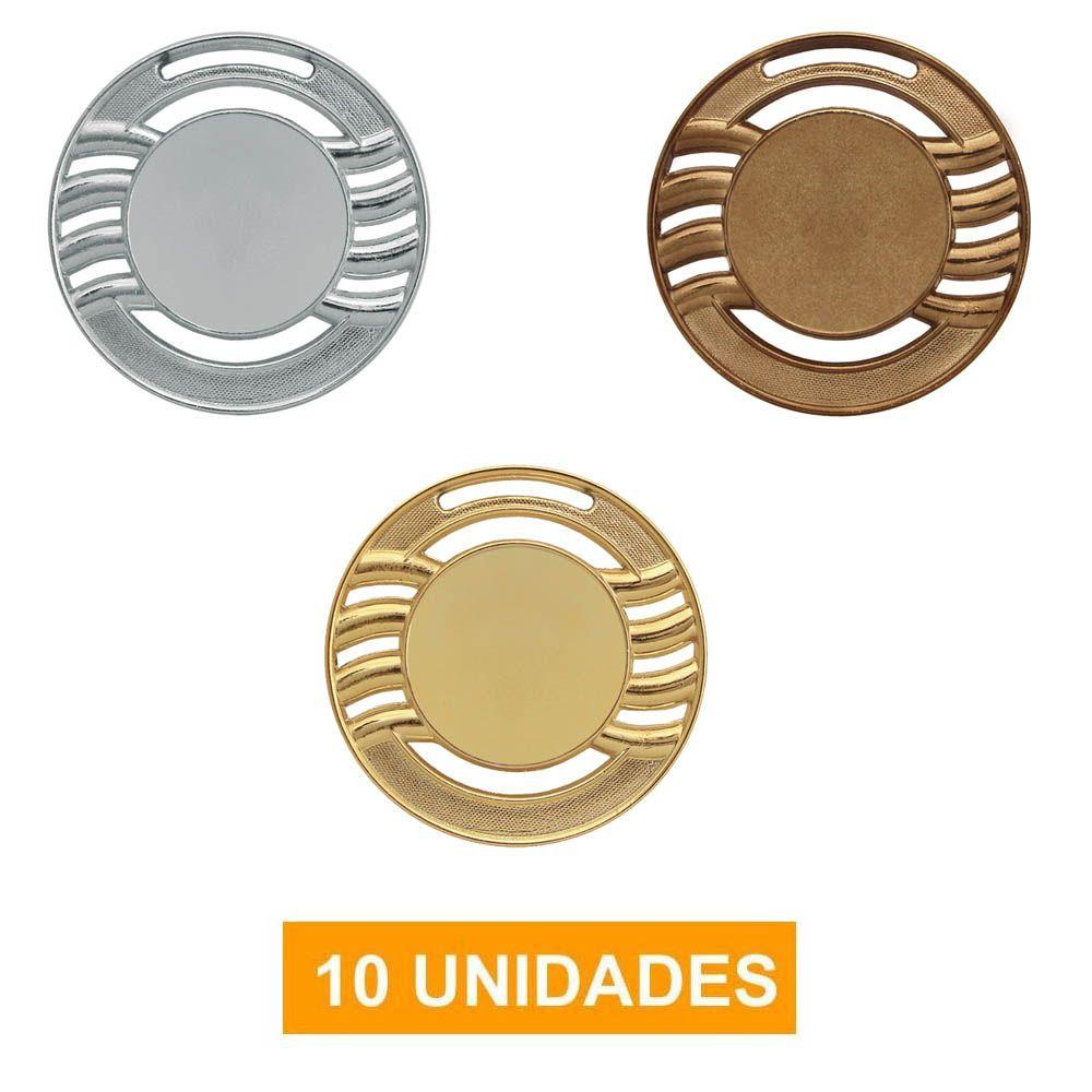 Kit de 10 Medalhas com Fita Gorgurão- mod65000- Futebol / Volei / Artes Marciais - 65mm- Vitória