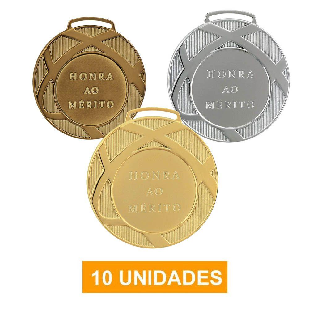 Kit de 10 Medalhas com Fita Gorgurão - mod80001- Futebol / Volei / Artes Marciais - 80mm - Vitória
