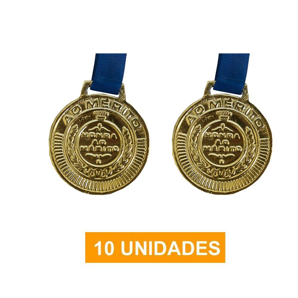 Kit de 10 Medalhas com Fita - Ouro- 4450- Futebol / Volei / Artes Marciais - 50mm- Rema