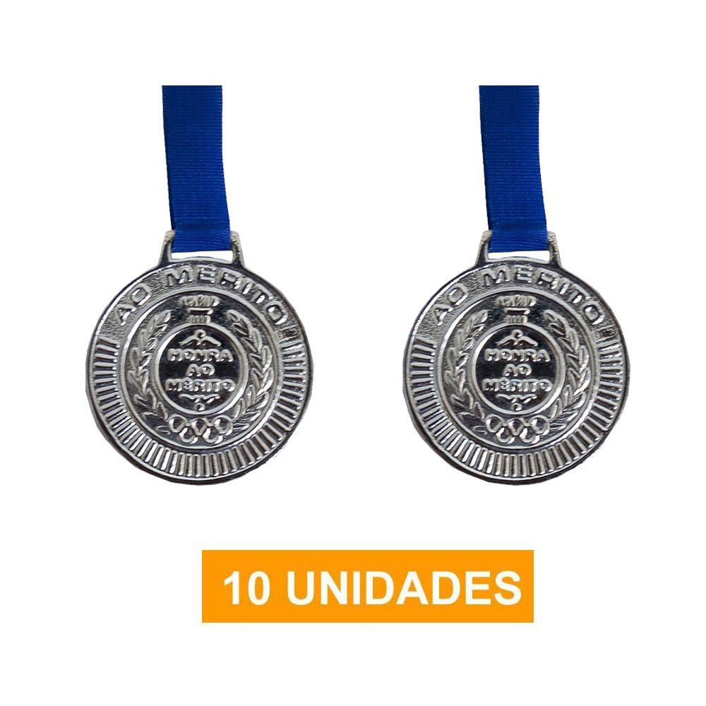 Kit de 10 Medalhas com Fita - Prata - 4450- Futebol / Volei / Artes Marciais - 50mm- Rema