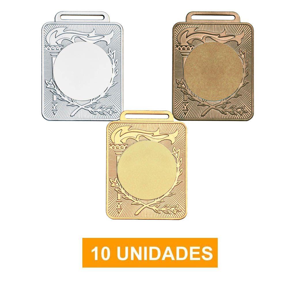 Kit de 10 Medalhas Retangulares com Fita Gorgurão - mod 50600- Futebol / Volei / Artes Marciais - 50mm- Vitória