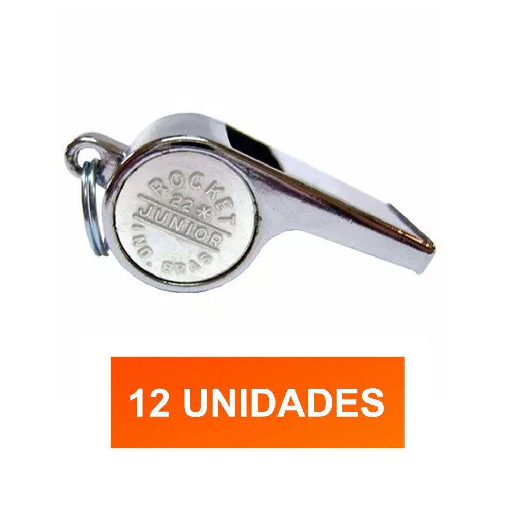 Kit de 12 Apitos de Metal Para Futebol / Vôlei / Handbol - Júnior JR22 com Bolinha - Pentagol  - Loja do Competidor