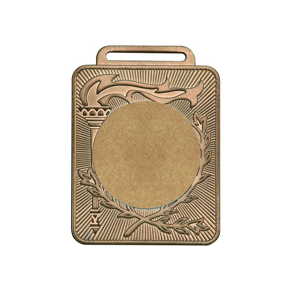 Kit de 3 Medalhas Retangulares com Fita Gorgurão - mod50600 - Bronze - 50mm - Vitória