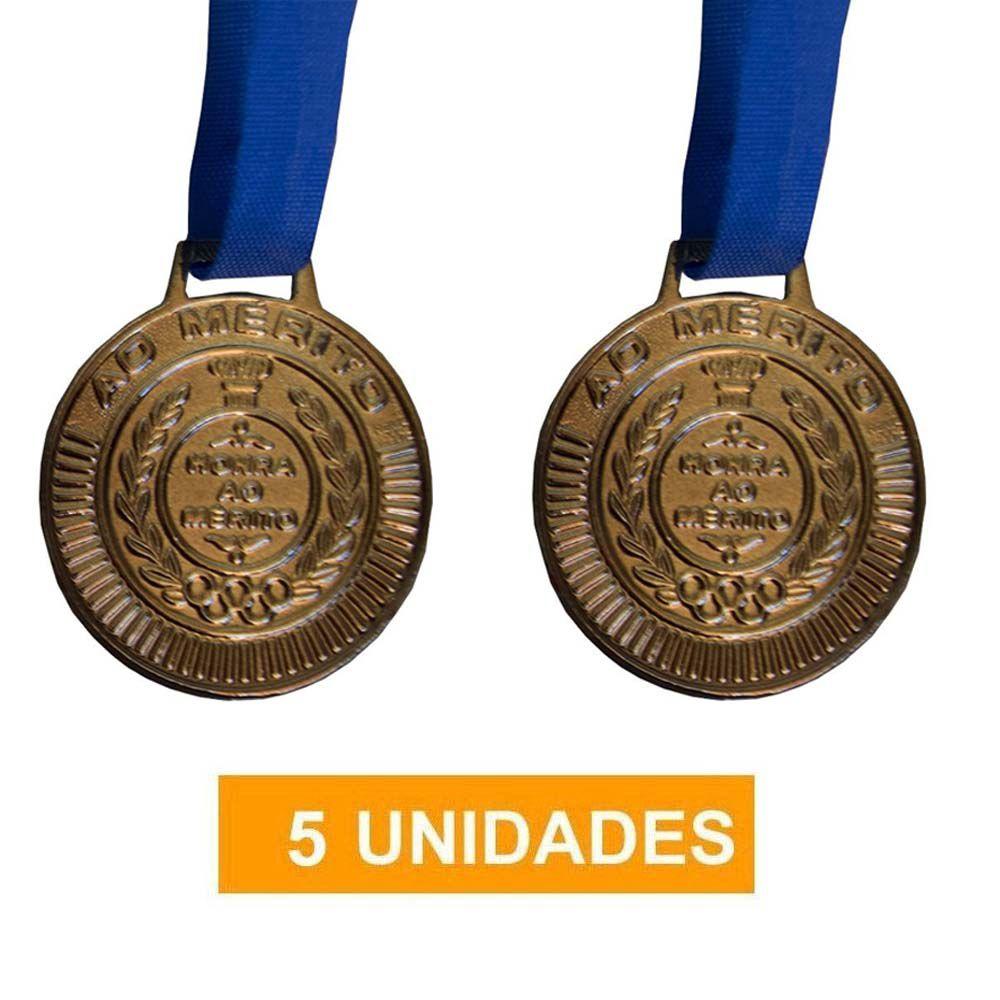Kit de 5 Medalhas com Fita - Bronze - 4450- Futebol / Volei / Artes Marciais - 50mm- Rema