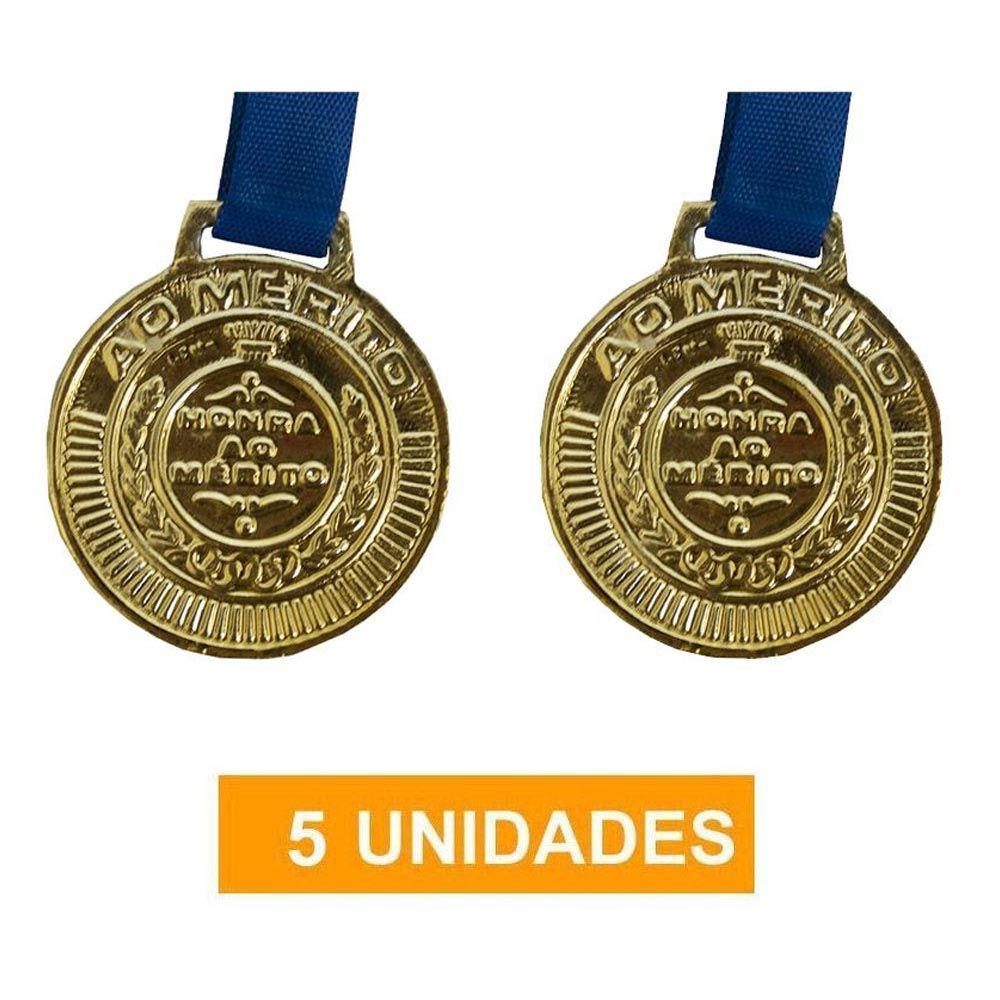 Kit de 5 Medalhas com Fita - Ouro- 4450- Futebol / Volei / Artes Marciais - 50mm- Rema