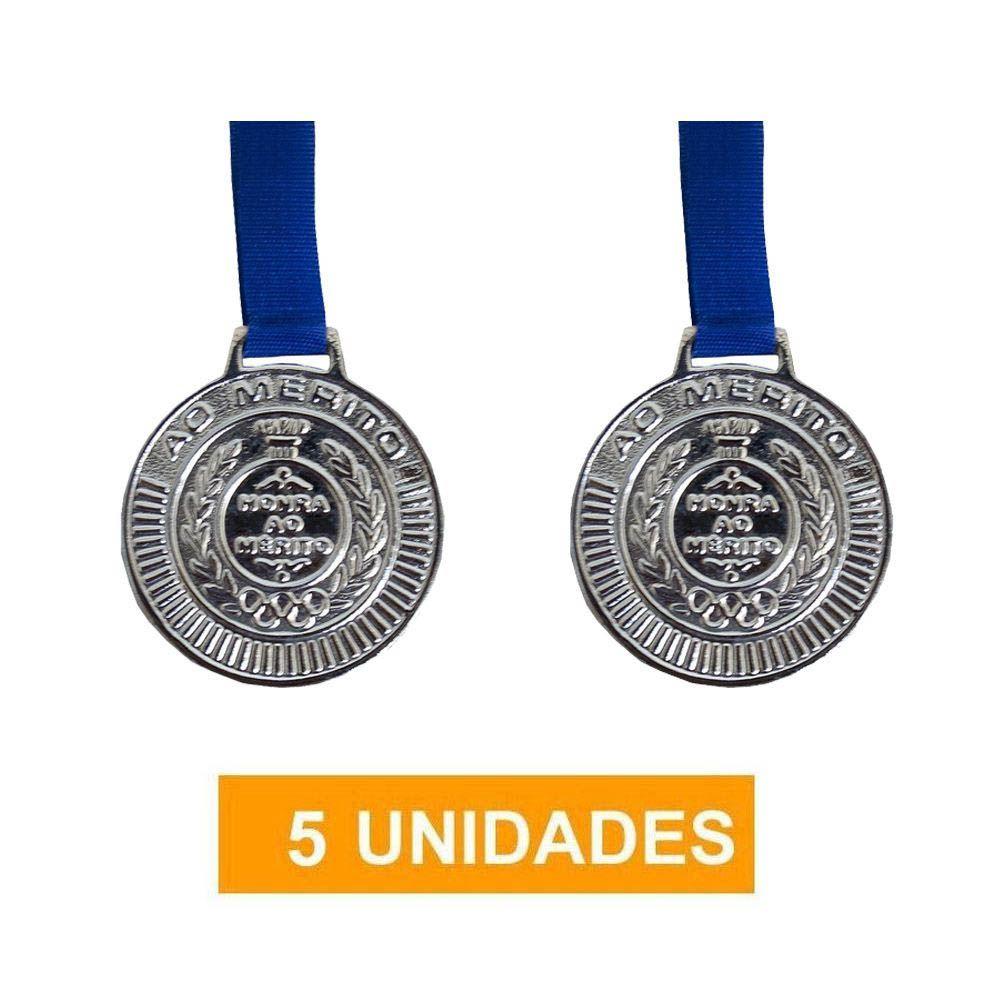 Kit de 5 Medalhas com Fita - Prata - 4450- Futebol / Volei / Artes Marciais - 50mm- Rema