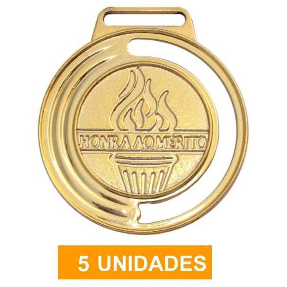Kit de 5 Medalhas de Ouro com Fita Cetim - mod 40000 - Futebol / Volei / Artes Marciais - 35mm- Vitória  - Loja do Competidor