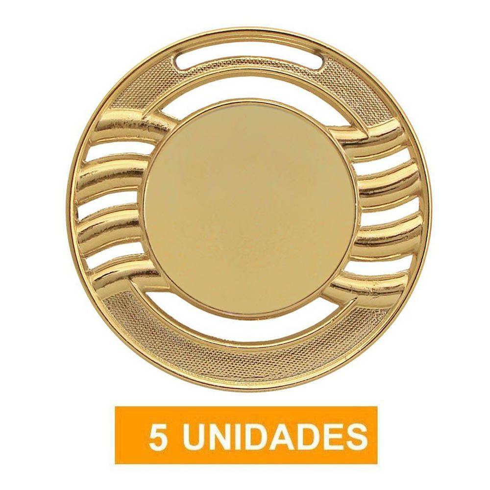 Kit de 5 Medalhas de Ouro com Fita Gorgurão- mod65000- Futebol / Artes Marciais - 65mm- Vitória  - Loja do Competidor