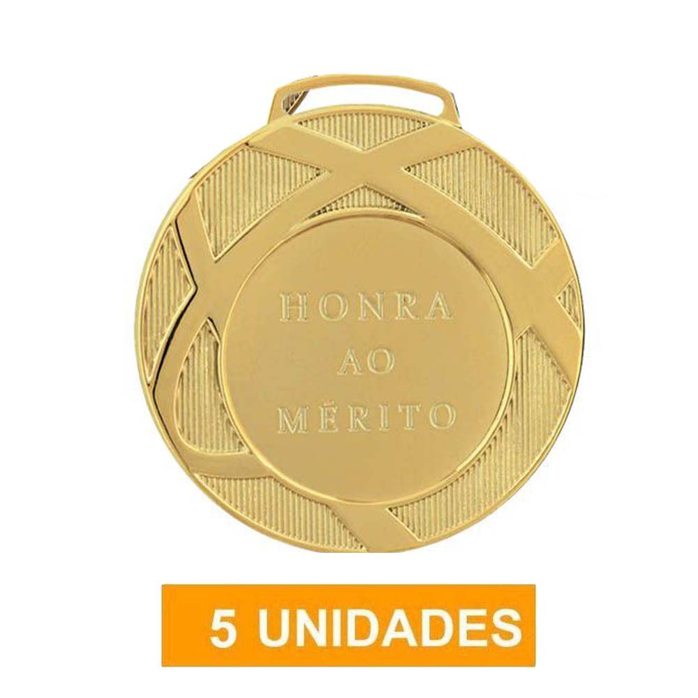 Kit de 5 Medalhas de Ouro com Fita Gorgurão - mod80001- Futebol / Volei / Artes Marciais - 80mm - Vitória  - Loja do Competidor