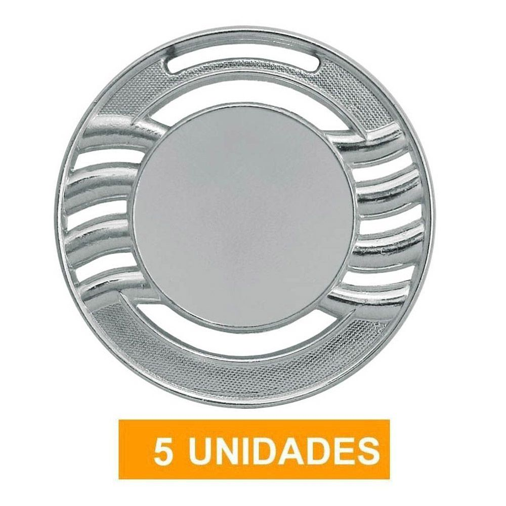 Kit de 5 Medalhas de Prata com Fita Gorgurão- mod65000- Futebol / Artes Marciais - 65mm- Vitória
