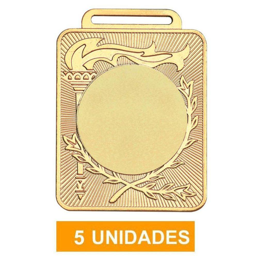 Kit de 5 Medalhas Retangulares de Ouro com Fita Gorgurão - mod 50600-  Volei / Artes Marciais - 50mm- Vitória  - Loja do Competidor