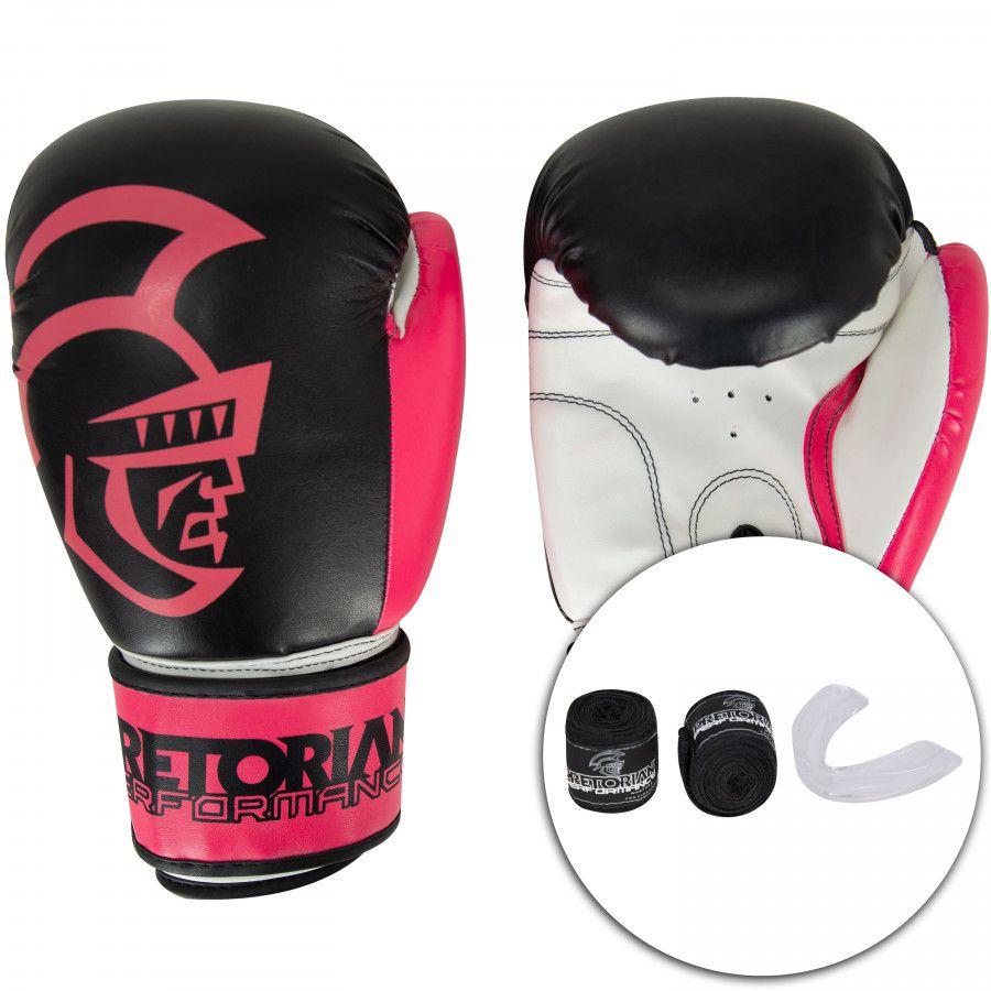 Kit de Boxe Thai Pretorian: Bandagem + Protetor Bucal + Luvas de Boxe Performance - 10 / 12 OZ - Preta/Rosa