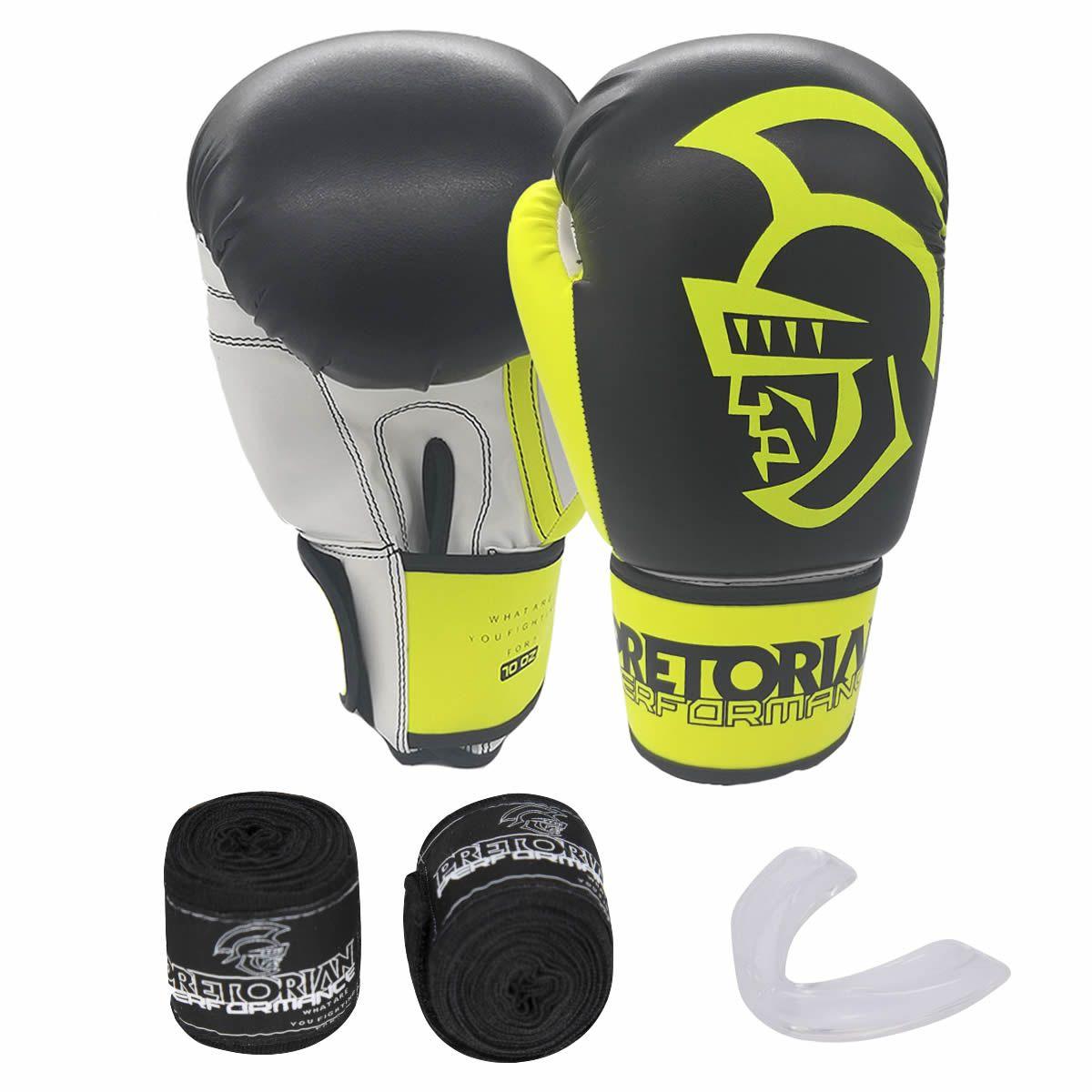 Kit de Boxe Thai Pretorian: Bandagem + Protetor Bucal + Luvas de Boxe Performance - Amarela - 12 / 14 OZ